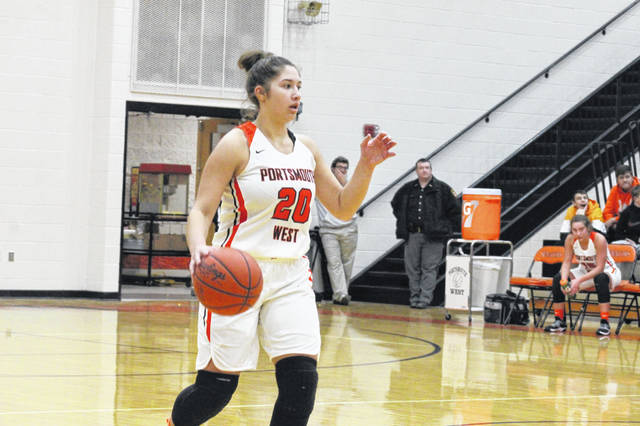 Portsmouth West junior Emily Sissel brings the ball up the court in the Lady Senators win over Ironton St. Joes Monday night.