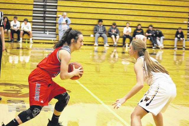Minford senior guard Caitlyn Puckett led the Lady Falcons with six first half points vs. Wheelersburg Thursday night.