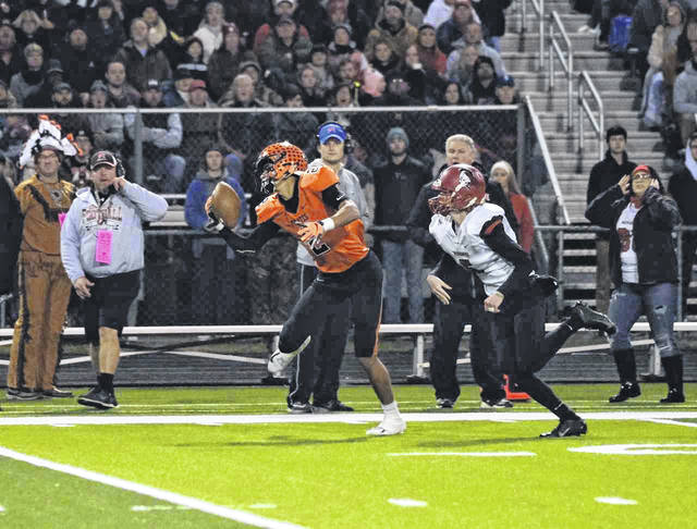 Tanner Holden's one handed catch from Makya Matthews halfback pass helped Wheelersburg set up one of their first half scoring drives.