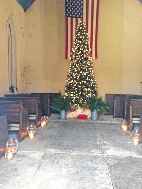 Christmas tree and lanterns in the chapel