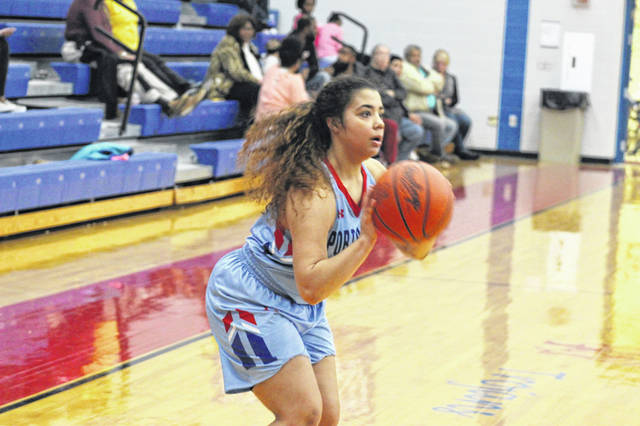 Portsmouth senior Jasmine Eley scored a game high 15 points in the Trojans home loss to Notre Dame.