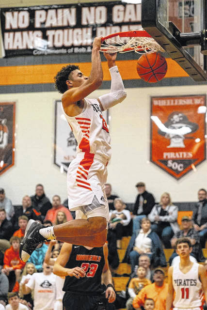 Wheelersburg senior Tanner Holden had a game high 34 points, as well as a game high 17 rebounds in the Pirates home win over Waverly Tuesday night.