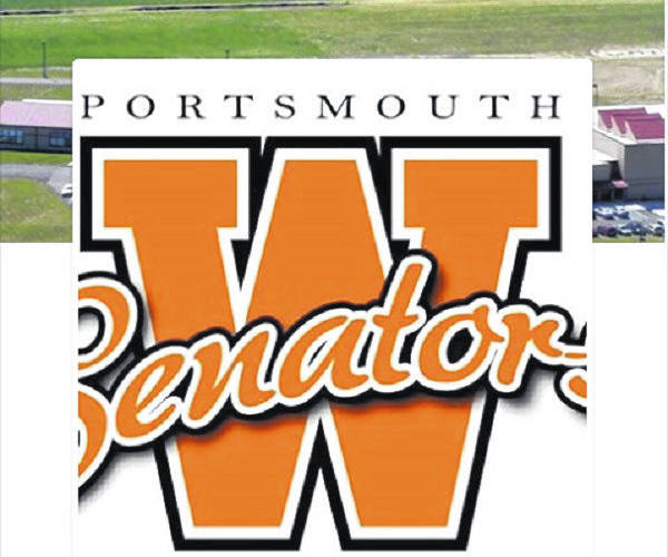 The Portsmouth West Middle School logo superimposed over a photo of the school, taken from the school's Facebook page.
