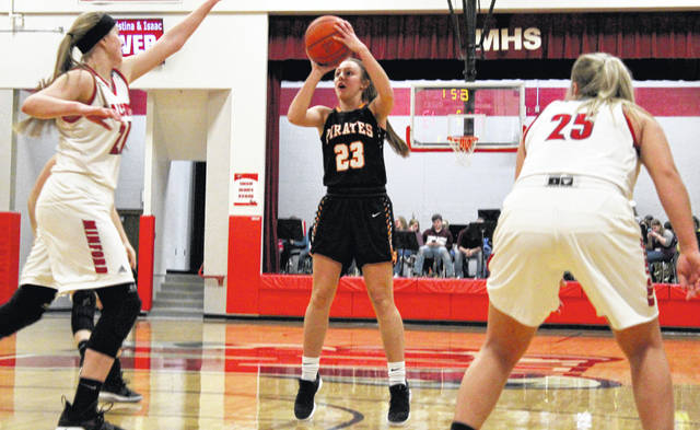 Wheelersburg's Kaylee Darnell shoots during the first half of Thursday's 55-42 win over Minford.