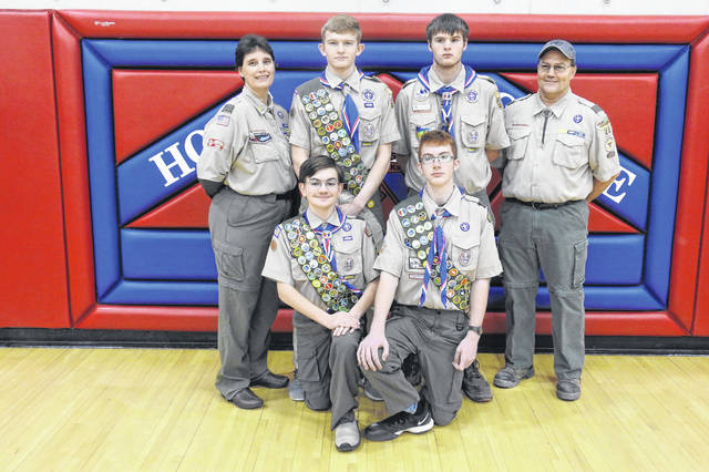 Front Row left to right: Eagle Scouts - Patrick Redoutey & Marty Smith Back Row left to right: Sara McClay- Committee Chair, Eagle Scouts - Chase McClay & Benjamin Shinkle, and David Redouty, Scout leader