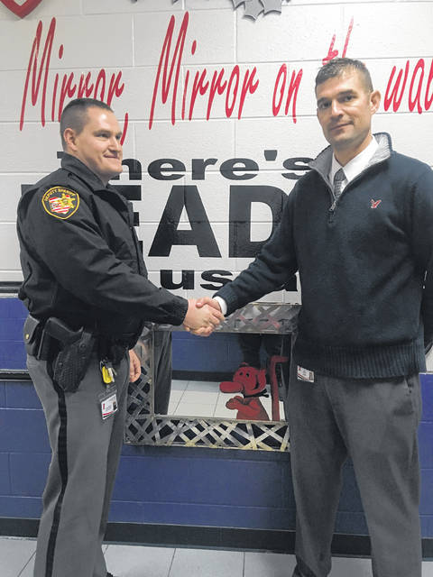 Bloom Vernon Superintendent,	Marc Kreischer welcomes Jonathan Walker, First ever - Resource Officer from the Scioto County Sheriff's office