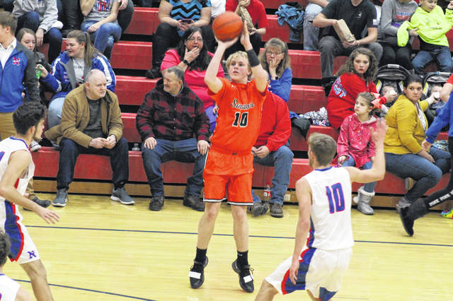 Brennan Bauer's three first half three's helped lift Portsmouth West to a road SOC II win over Northwest on Friday.