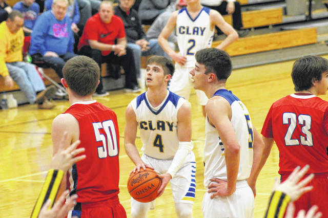 Clay's Hunter Mathias finished with a game high 18 points in the Panthers home loss to Peebles on Tuesday.