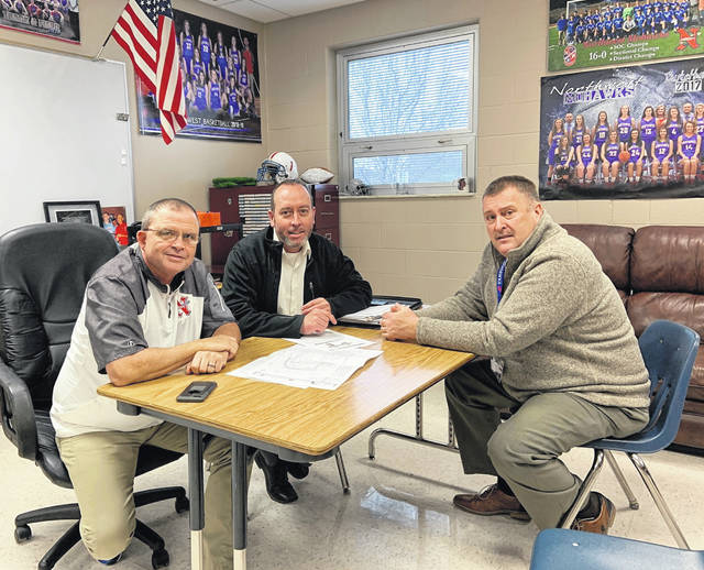 Left to right: Dave Frantz, Kirk Donges, & Todd Jenkins working with the plans of the Athletic Complex.