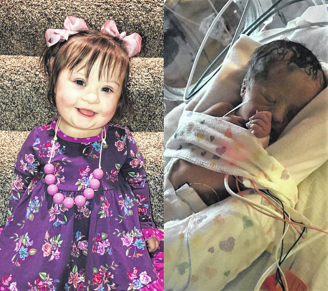 On the left is Aubrey now and on the right is Aubrey when she was in the NICU.