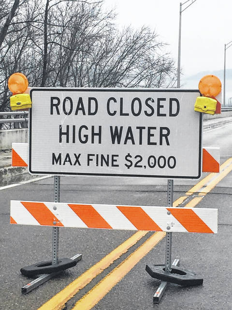 The Second Street Bridge crossing the Scioto River into Portsmouth is closed due to high water.