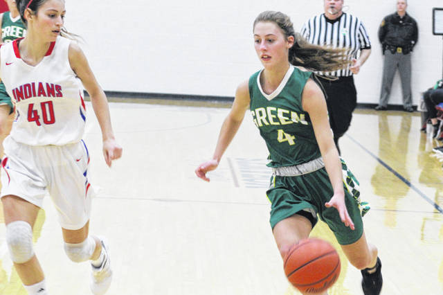 Green freshman Kasey Kimbler finished with 13 points in the Bobcats loss to Peebles Saturday.