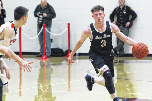 Notre Dame senior Ben Mader finished his high school career with five points in the Titans loss to Whiteoak.