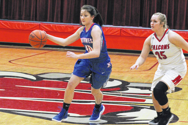 Northwest sophomore Val Eury had a game high 18 points in the Mohawks loss to Minford Thursday night. Minford sophomore Livi Shonkwiler played a huge role in the Falcons gameplan defensively in their win Thursday night over Northwest.