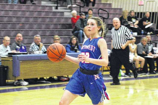 Northwest freshman Ava Jenkins attacks the rim in transition in the Mohawks sectional loss to Ironton Wednesday night.