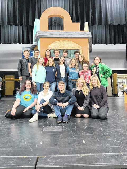 Pictured are some of the many cast members with the group of seniors up front. Front Row (Right to Left) Alexis VanDyke, Addison Guilliams, Isaiah Norman, , Ivy Ferguson, Alicia Smith. Second Row: (Right to Left) Chandler McClurg, Jalynn Williams, Layla McCleese, Delainey Ayers, Julianna Parlin, Haven Hileman, Bailee Wireman. Third Row: (Right to Left) Xavier Camden, Hayden Runions, Nick Gray, Levi Kouns, Evan Green, Lucas Tackett