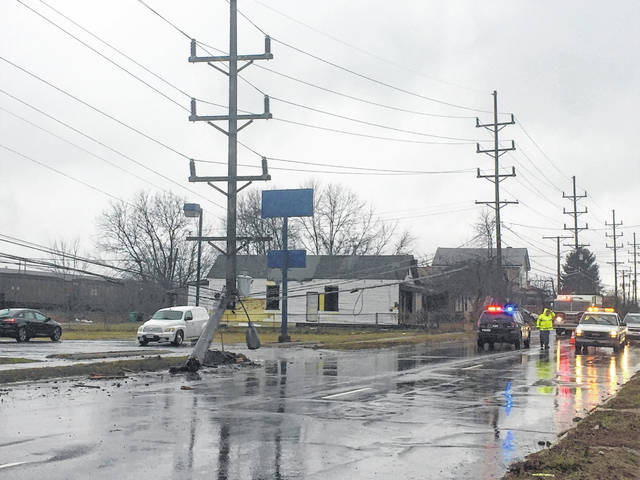 A vehicle accident broke a utility pole off near the ground early Wednesday afternoon causing traffic to be backed up in the eastbound lanes of 52 in Portsmouth near New Boston. Portsmouth Police and fire were on the scene as well as American Electric Power to do the repairs.