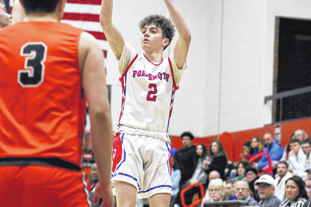 Portsmouth's Matthew Fraulini shoots during the first quarter of Monday's 47-46 win over West in a Division III sectional semifinal.