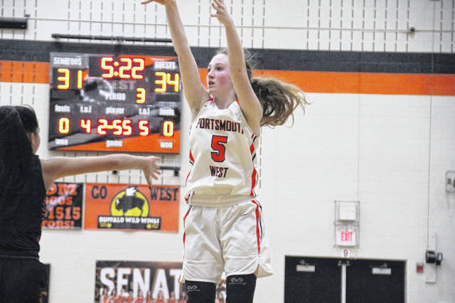 West's Eden Cline shoots during the second half of Monday's 56-42 loss to Waverly.