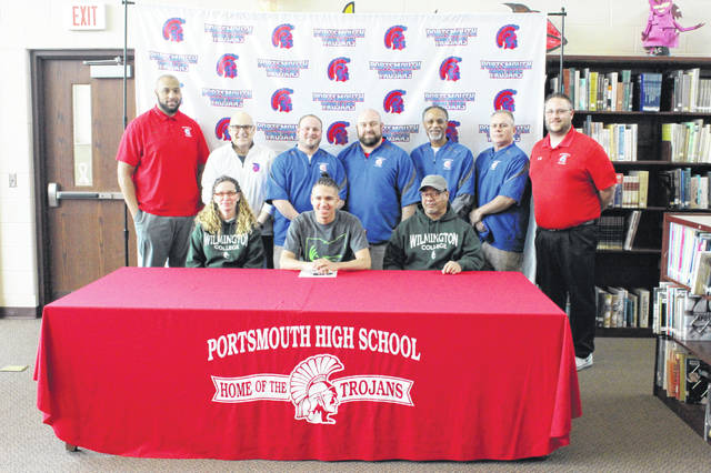 Portsmouth senior Stefan Johnson signed his LOI with Wilmington College to play collegiate football for the Quakers at a signing ceremony Thursday afternoon.