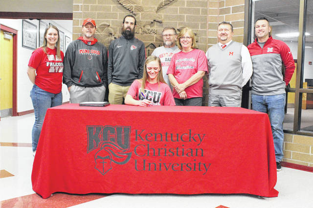 Minford senior Emily Shoemaker signed her letter of intent to play collegiate softball and soccer at Kentucky Christian University at a signing ceremony at Minford High School Friday afternoon.
