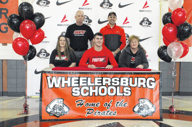 Wheelersburg senior Kevin Meadows signed his letter of intent with Ohio Wesleyan University at a signing ceremony at Wheelersburg High School Tuesday afternoon.