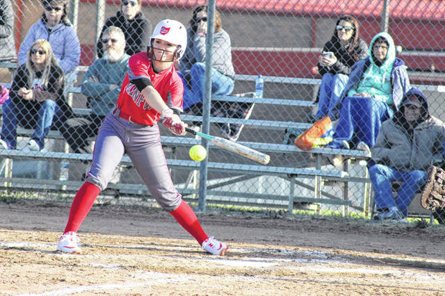Minford junior Brittani Wolfenbarker's clutch hit came in the bottom of the third inning, tying the Falcons with Oak Hill at 1-1.