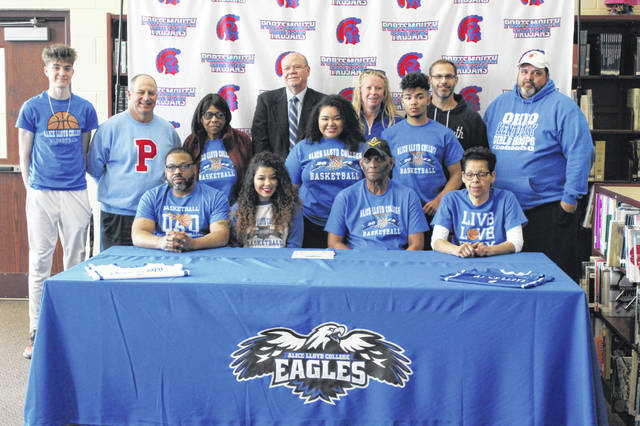 Portsmouth senior Jasmine Eley signed her letter of intent to play collegiate basketball at Alice Lloyd College Friday afternoon during her signing ceremony.