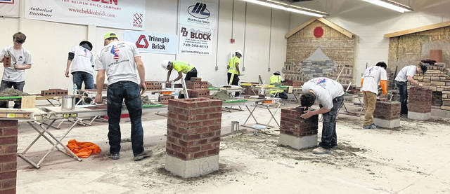 The juniors working on their projects in the Masonry competition at the SCCTC.