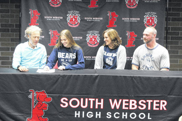South Webster senior Olivia Messer signed her letter of intent to enroll and run track at Shawnee State University beginning this fall.