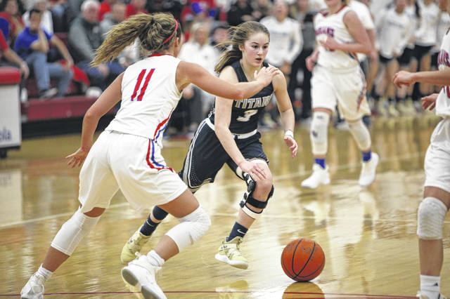 Notre Dame's Ava Hassel finished Thursday's 46-42 loss to Peebles with eight points, six rebounds and three assists before fouling out late in the fourth quarter.