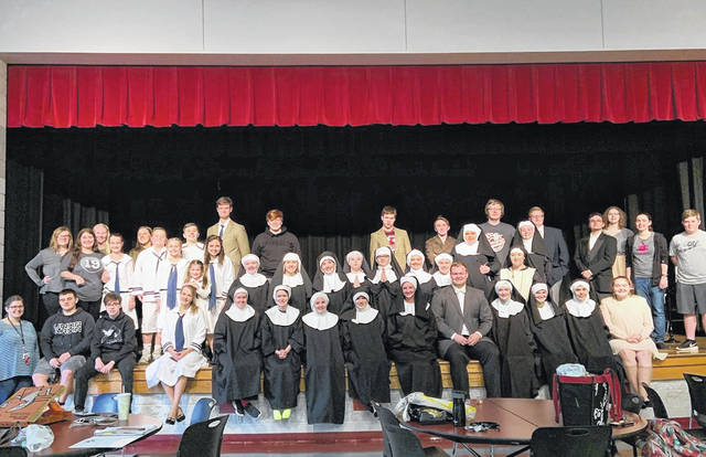The entire ensemble from Minford High School, for <em>The Sound of Music</em> being presented this weekend. Front left is Minford Music Director, Lacey Ratcliff.