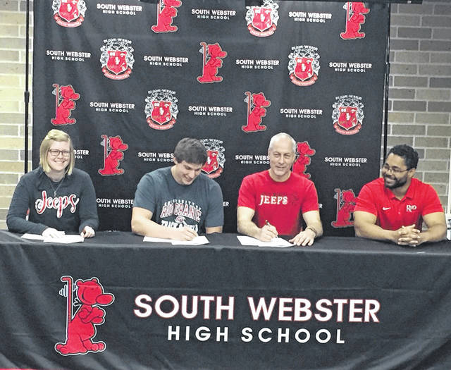South Webster senior Josiah Edwards signed his letter of intent to join the University of Rio Grande's track team next spring at his signing ceremony Tuesday morning.
