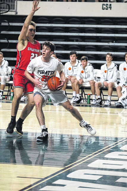 J.J. Truitt grabbed eight rebounds in the Pirates district final win over Alexander, second only to Tanner Holden's 14.