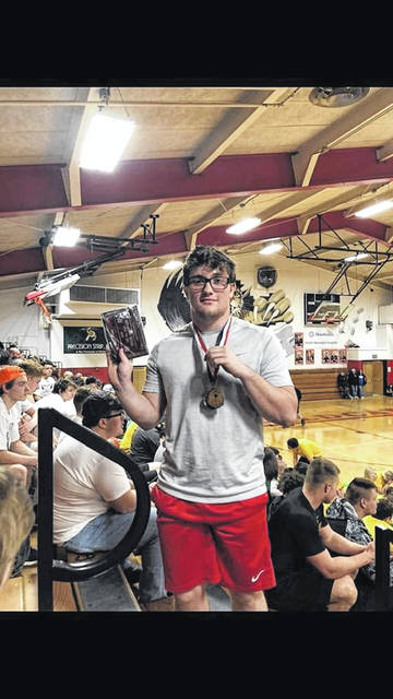 Portsmouth junior Tyler McCoy took home a state title at Saturday's state powerlifting meet held in Kenton Ohio.