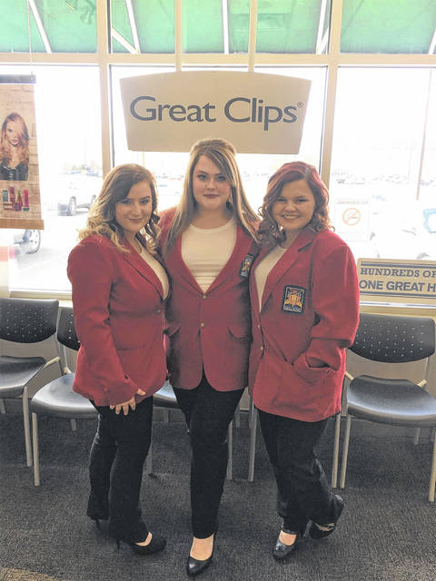 Brooklynn Kazee, Alysa McCallister, and Donna Mersiel, from the SCCTC, in their red jackets they will wear at the competition in Columbus.