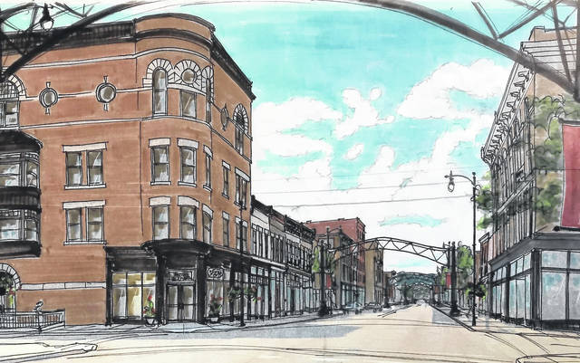 An artist's rendering of the arches coming to Second Street.