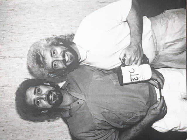 Earl Thomas Conley, left, and Keith Whitley on the right, at one of Earl Thomas Conley's homecoming concerts in Portsmouth several year back.