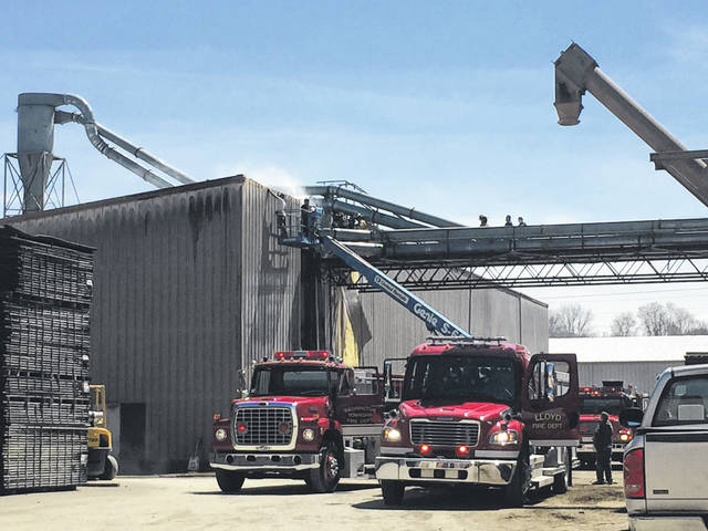 A fire in a wall at Graf Brothers Lumber Tuesday was being extinguished by several local fire departments. The extent of the damage was unknown at press time Tuesday.
