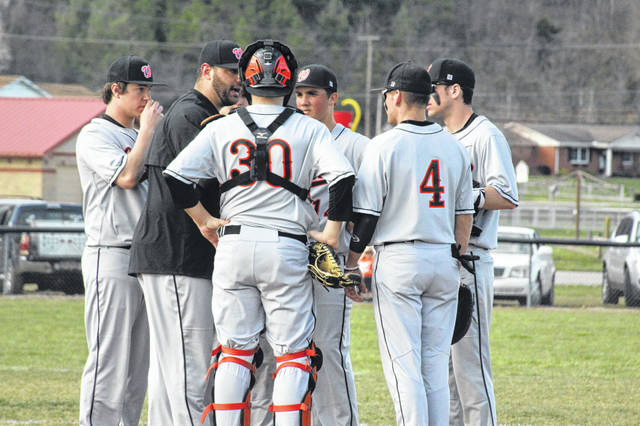 Wheelersburg head coach Derek Moore visits the mound to discuss the Pirates strategy with his pitcher, Cole Ratcliff.