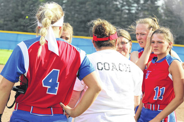 Northwest head coach Lora West talks to her team in a game Tuesday vs. Portsmouth.