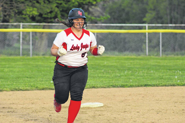 South Webster sophomore Emma Bailey hit a solo home run in the bottom of the tenth inning in Wednesday's loss to Oak Hill.