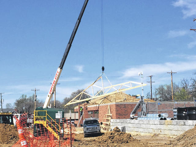 Work continues on the new Speedway in Portsmouth. Last week crews were putting the roof trusses on the new building.
