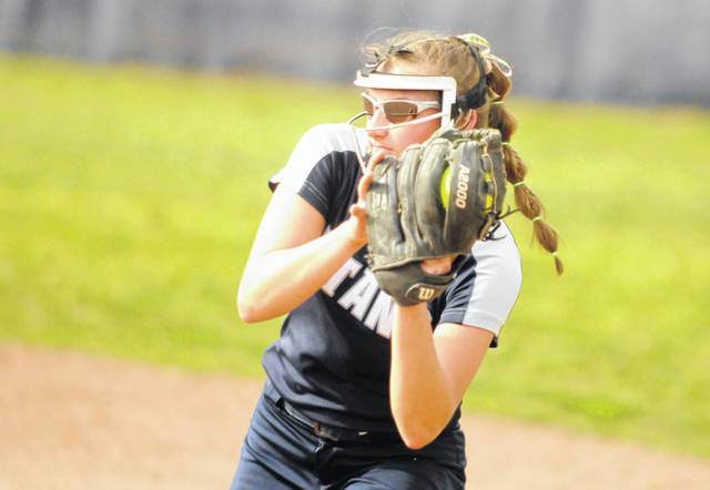 Notre Dame's Isabel Cassidy squeezes an out in her glove during the sixth inning of Thursday's 11-4 win over Clay.