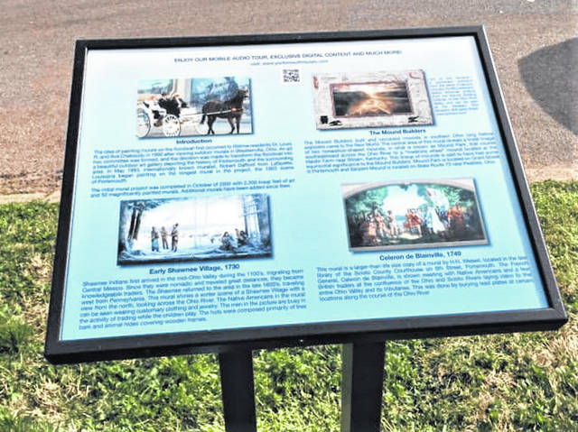One of the floodwall mural kiosks restored by Portsmouth Murals, Inc.