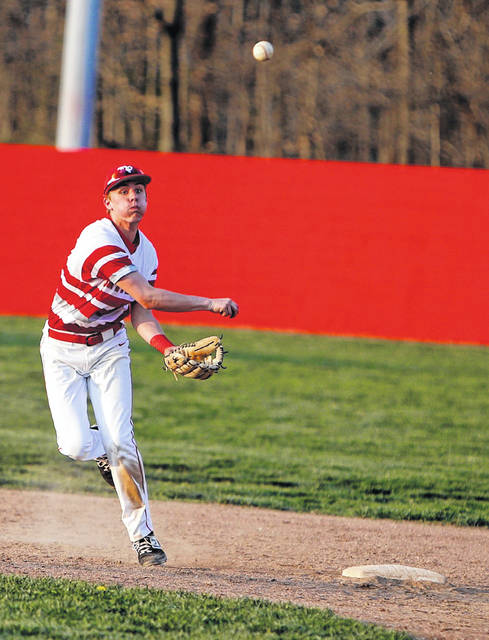 Minford junior Nathan McCormick relays a ground ball to first base in the Falcons win over Wheelersburg Wednesday.