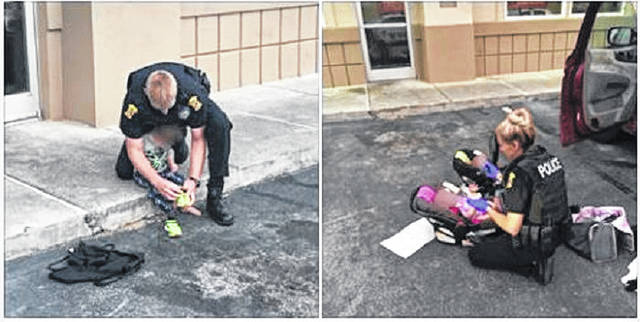 Panama City Fla., police care for the youngsters who's West Portsmouth parents officials say were passed out in an IHOP parking lot.