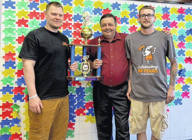 Accepting the new trophy (l to r) Josh Griffith, The General Manager of the Portsmouth store, Mike Bell Autism Project of Scioto County President and Justin Lewis Assistant Manager of the Portsmouth store.