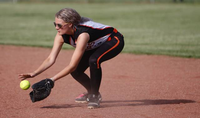 West second baseman Laney Ayers field a ground ball in Tuesday's 10-3 loss in a Division III sectional semifinal at Zane Trace.