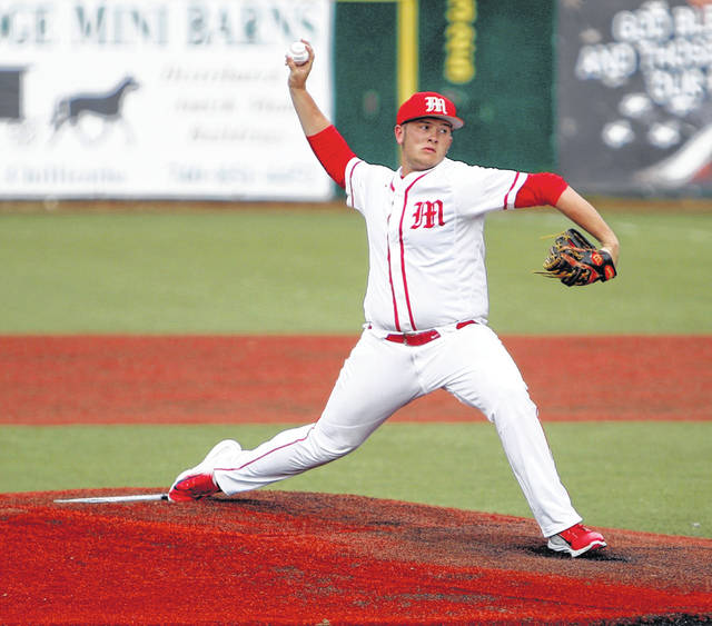 Minford's Ethan Lauder led the Falcons to a 12-2 win over Wellston Thursday evening in a Division III district semifinal.